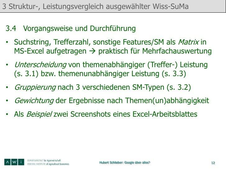 3 Struktur-, Leistungsvergleich ausgewählter Wiss-SuMa3.4 Vorgangsweise und Durchführung• Suchstring, Trefferzahl, sonstig...