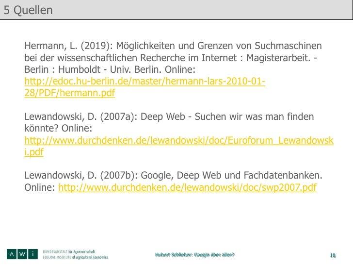 5 Quellen   Hermann, L. (2019): Möglichkeiten und Grenzen von Suchmaschinen   bei der wissenschaftlichen Recherche im Inte...