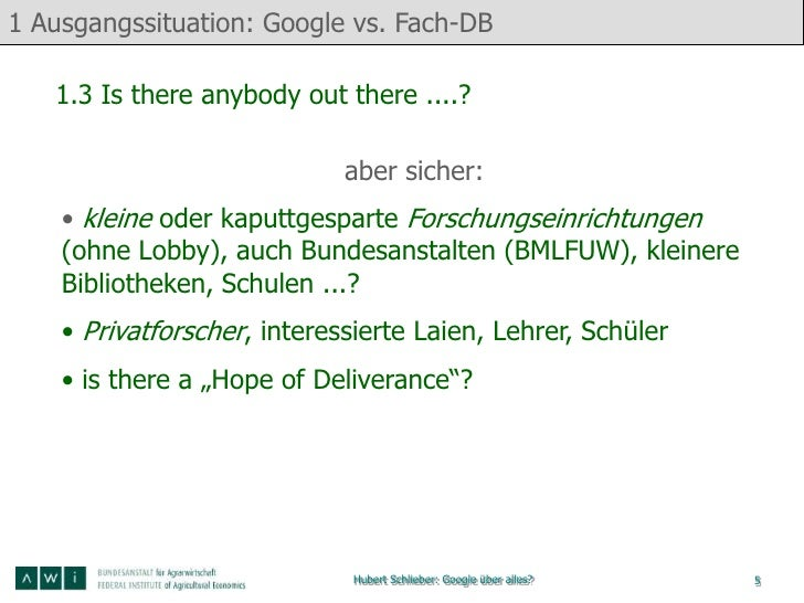 1 Ausgangssituation: Google vs. Fach-DB   1.3 Is there anybody out there ....?                             aber sicher:   ...