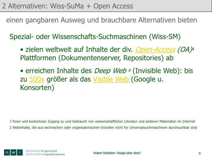 2 Alternativen: Wiss-SuMa + Open Access einen gangbaren Ausweg und brauchbare Alternativen bieten  Spezial- oder Wissensch...