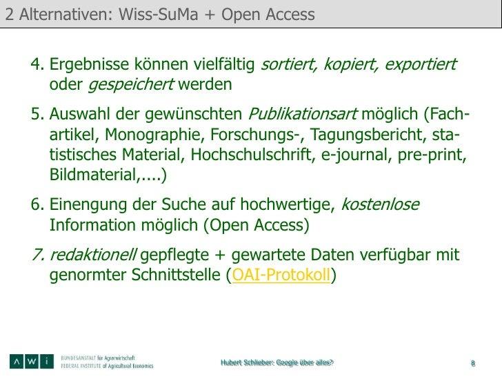 2 Alternativen: Wiss-SuMa + Open Access   4. Ergebnisse können vielfältig sortiert, kopiert, exportiert      oder gespeich...