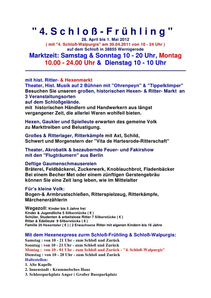""""""" 4. S c h l o ß - F r ü h l i n g """"                               28. April bis 1. Mai 2012            ( mit """"4. Schloß-W..."""