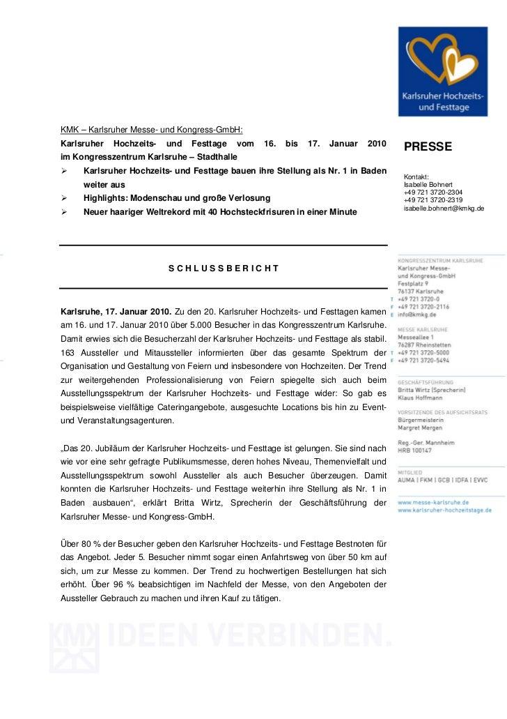 KMK – Karlsruher Messe- und Kongress-GmbH:Karlsruher   Hochzeits-    und    Festtage   vom     16.   bis   17.   Januar   ...