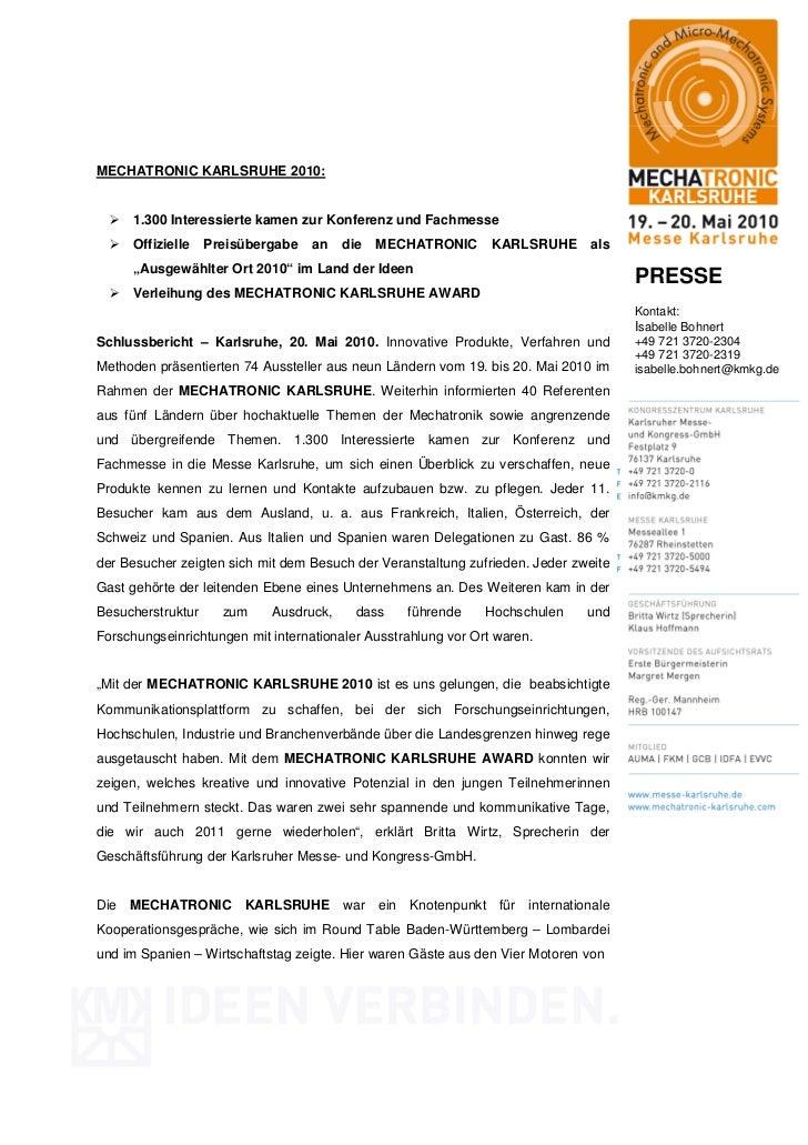 MECHATRONIC KARLSRUHE 2010:     1.300 Interessierte kamen zur Konferenz und Fachmesse     Offizielle    Preisübergabe   an...