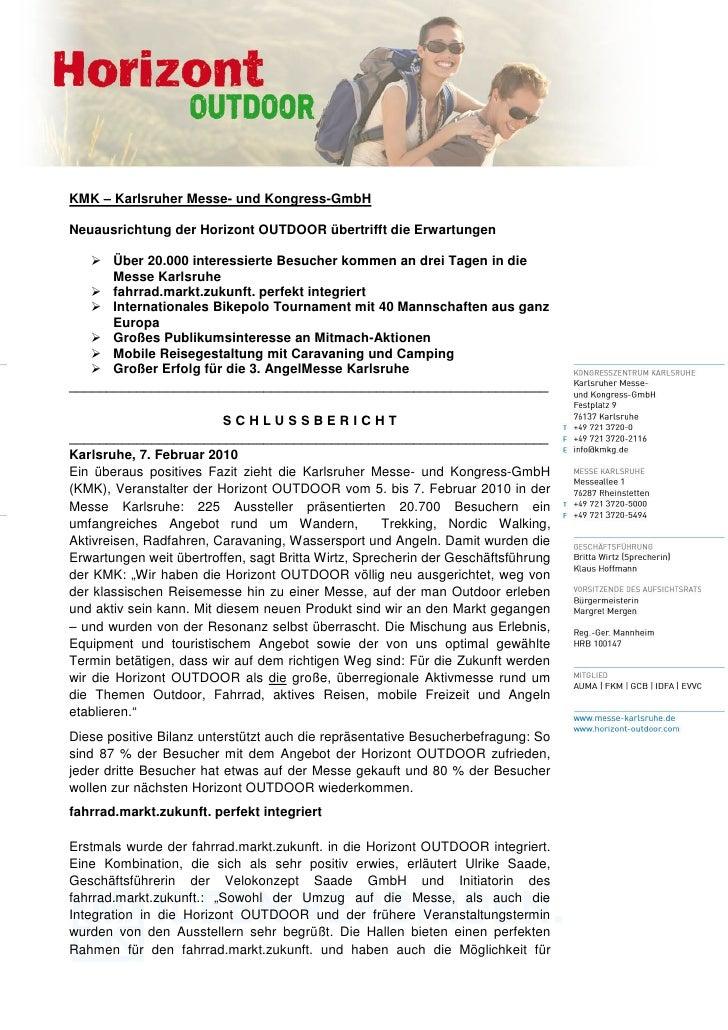 KMK – Karlsruher Messe- und Kongress-GmbHNeuausrichtung der Horizont OUTDOOR übertrifft die Erwartungen      Über 20.000 i...