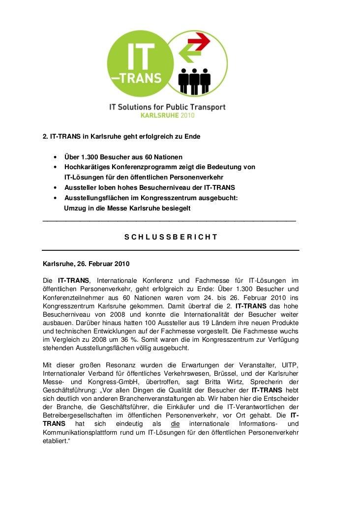2. IT-TRANS in Karlsruhe geht erfolgreich zu Ende   •   Über 1.300 Besucher aus 60 Nationen   •   Hochkarätiges Konferenzp...
