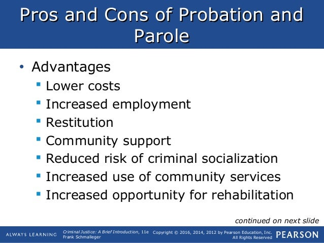 cons of probation and parole
