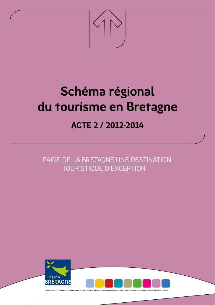 Schéma régionaldu tourisme en Bretagne                           ACTE 2 / 2012-2014FAIRE DE LA BRETAGNE UNE DESTINATION   ...