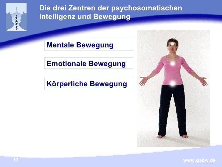 Die drei Zentren der psychosomatischen Intelligenz und Bewegung Körperliche Bewegung Emotionale Bewegung Mentale Bewegung