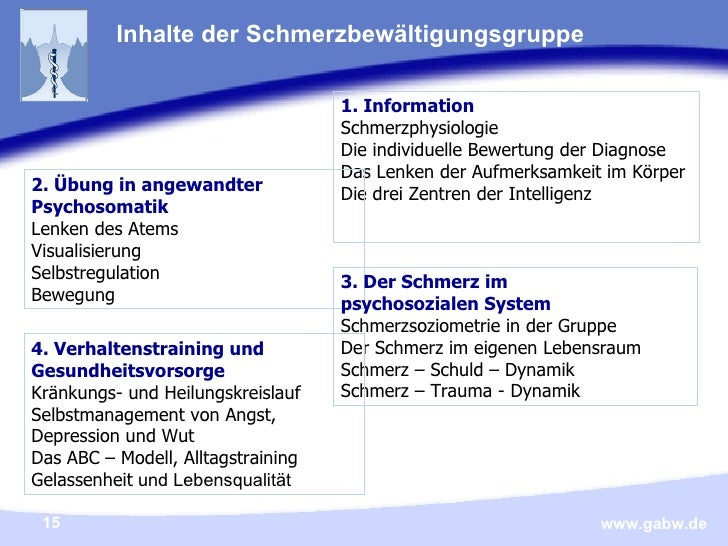 Inhalte der Schmerzbewältigungsgruppe <ul><li>1. Information </li></ul><ul><li>Schmerzphysiologie </li></ul><ul><li>Die in...