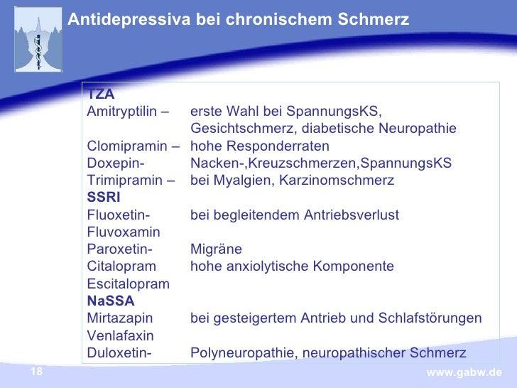 Antidepressiva bei chronischem Schmerz TZA Amitryptilin   –  erste Wahl bei SpannungsKS,  Gesichtschmerz, diabetische Neur...