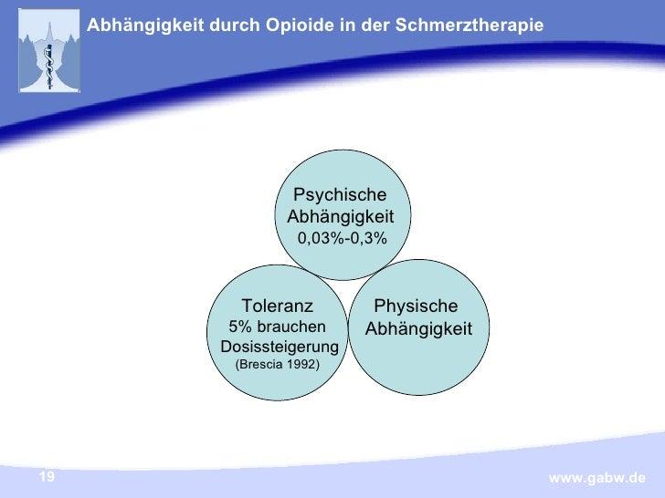 Abhängigkeit durch Opioide in der Schmerztherapie Toleranz 5% brauchen Dosissteigerung (Brescia 1992) Psychische  Abhängig...