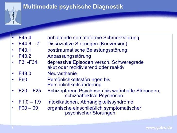 Multimodale psychische Diagnostik <ul><li>F45.4  anhaltende somatoforme Schmerzstörung </li></ul><ul><li>F44.6 – 7  Dissoz...