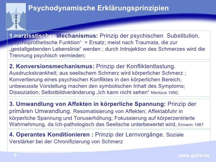 """Psychodynamische Erklärungsprinzipien   <ul><li>narzisstischer  Mechanismus:  Prinzip der psychischen  Substitution .  """"p..."""