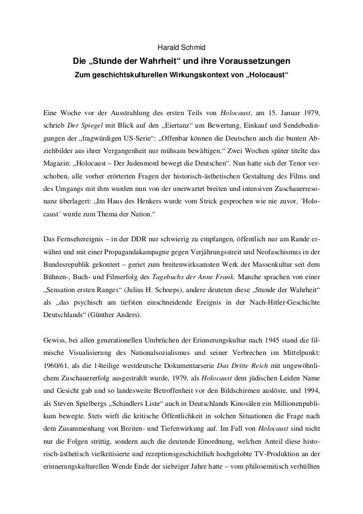 """Harald Schmid         Die """"Stunde der Wahrheit"""" und ihre Voraussetzungen          Zum geschichtskulturellen Wirkungskontex..."""