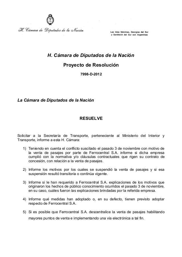 H. Cámara de Diputados de la Nación                             Proyecto de Resolución                                    ...