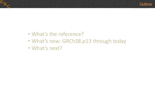 • What's the reference? • What's new: GRCh38.p13 through today • What's next? Outline
