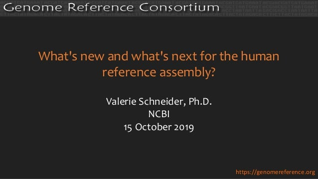 What's new and what's next for the human reference assembly? Valerie Schneider, Ph.D. NCBI 15 October 2019 https://genomer...