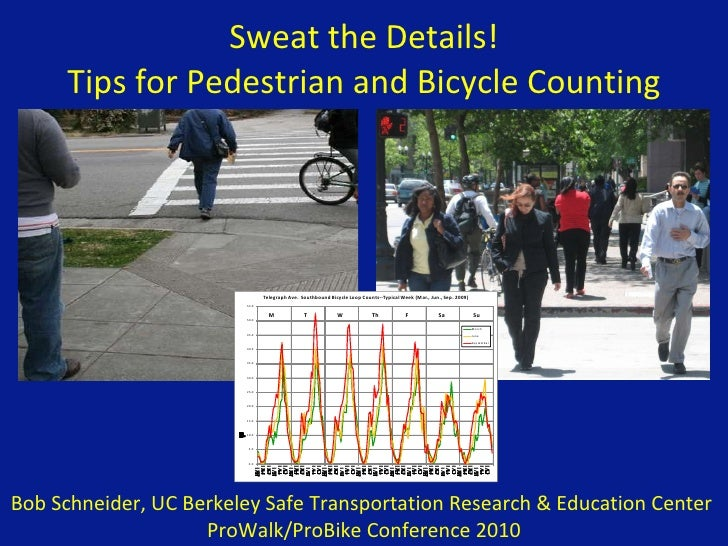 Sweat the Details! Tips for Pedestrian and Bicycle Counting Bob Schneider, UC Berkeley Safe Transportation Research & Educ...