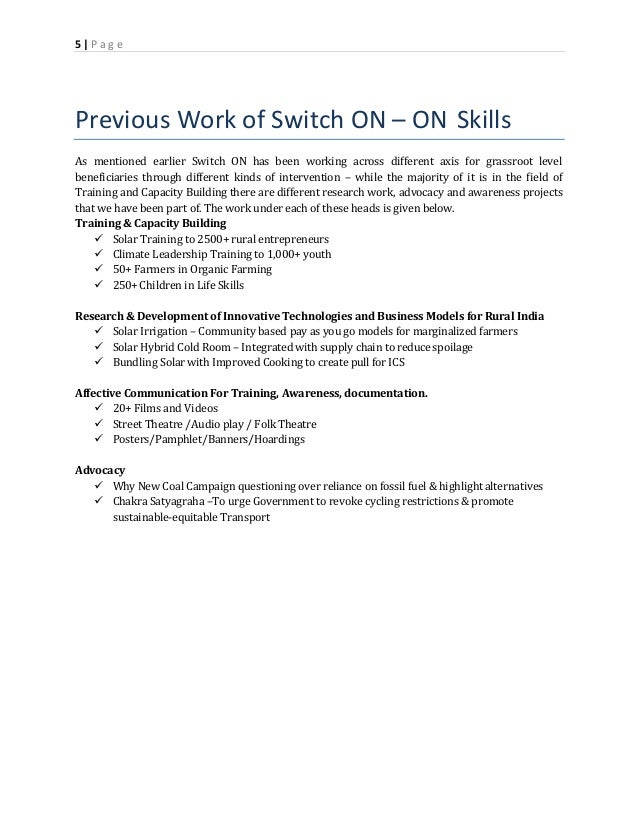 project proposal for skill development training