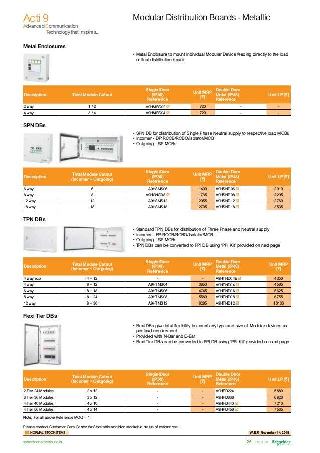 Schneider light control pricelist wef 1st nov 2018