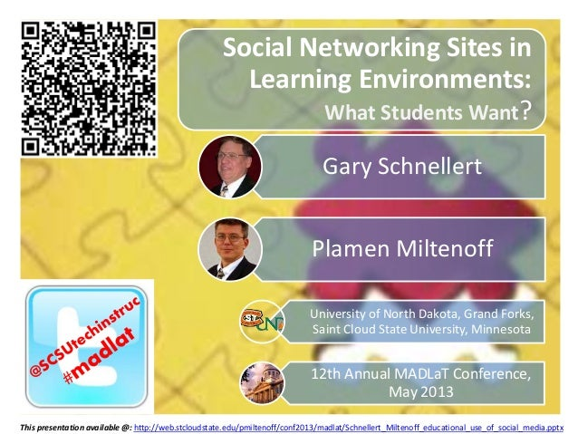 Social Networking Sites in Learning Environments: What Students Want? Gary Schnellert Plamen Miltenoff University of North...