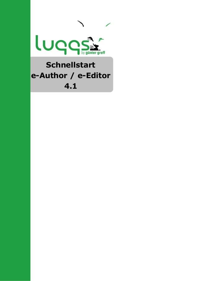 Schnellstart e-Author / e-Editor 4.1