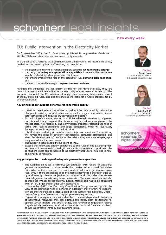 new every week  EU: Public Intervention in the Electricity Market On 5 November 2013, the EU Commission published its long...