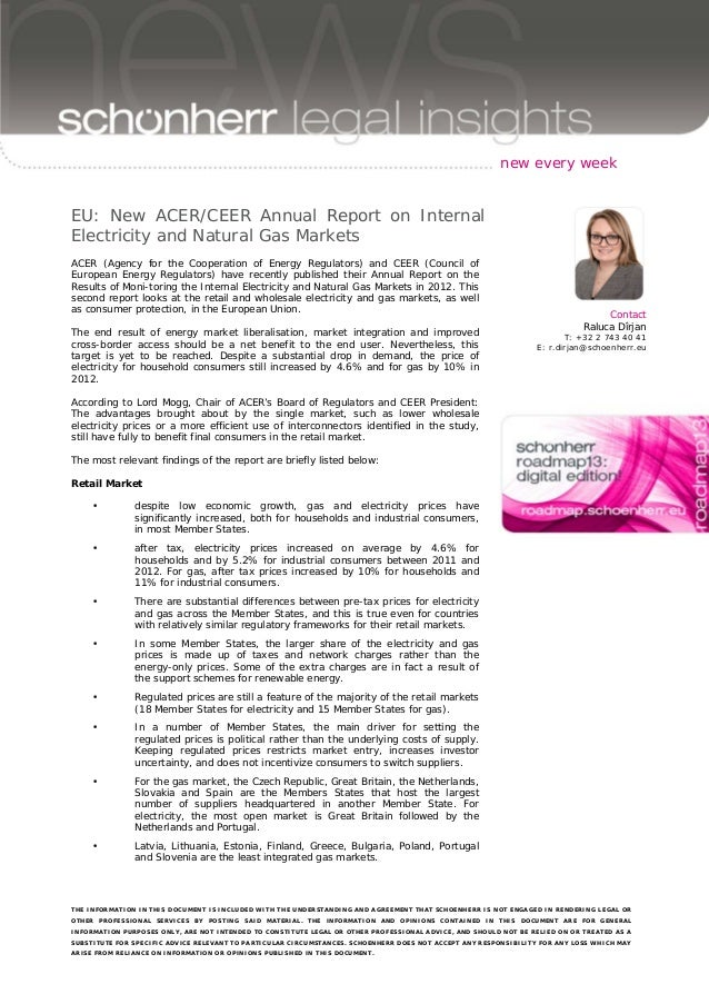 new every week  EU: New ACER/CEER Annual Report on Internal Electricity and Natural Gas Markets ACER (Agency for the Coope...