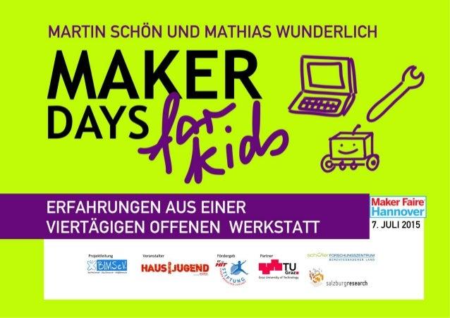 """""""Maker Days for Kids"""" - Erfa"""