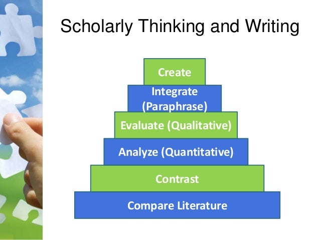 Scholarly Thinking and Writing Compare Literature Contrast Analyze (Quantitative) Evaluate (Qualitative) Integrate (Paraph...