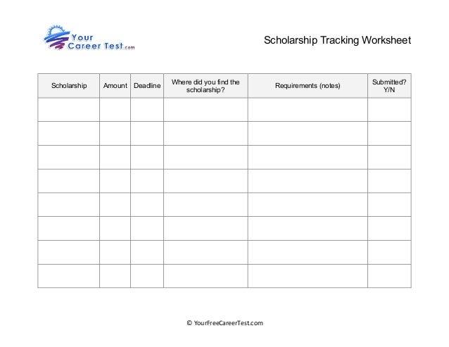 scholarship tracking worksheet. Black Bedroom Furniture Sets. Home Design Ideas