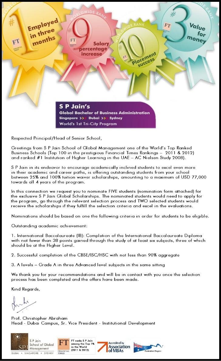 S P Jain School of Global Management - Scholarships - 2012
