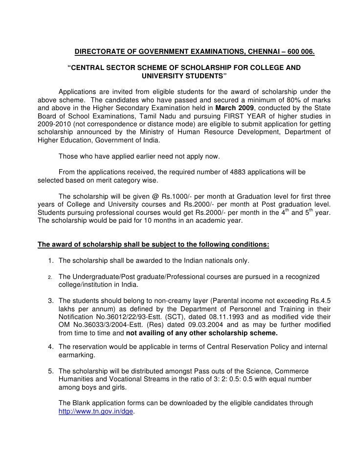 """DIRECTORATE OF GOVERNMENT EXAMINATIONS, CHENNAI – 600 006.            """"CENTRAL SECTOR SCHEME OF SCHOLARSHIP FOR COLLEGE AN..."""