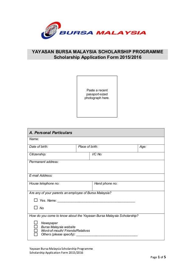 Scholarship 2015 application form