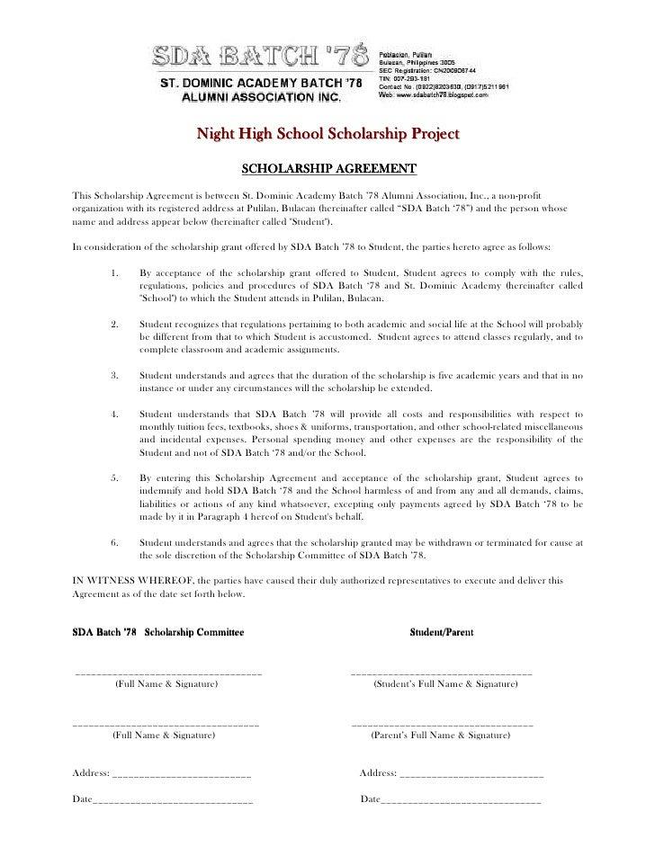 Night High School Scholarship Project                                          SCHOLARSHIP AGREEMENT  This Scholarship Agr...