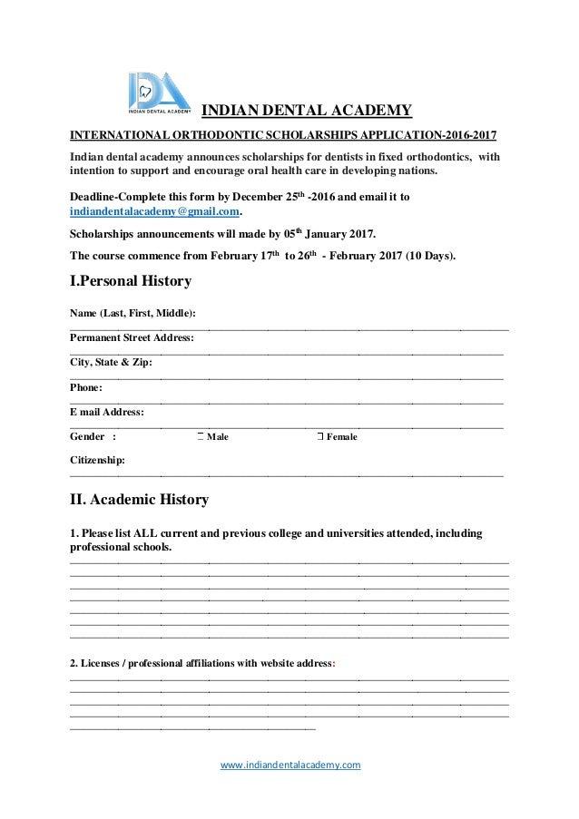 International fixed orthodontics Scholarship application form