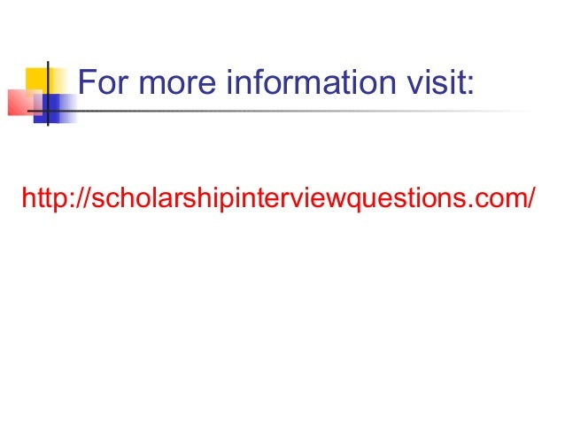 how to answer scholarship interview questions
