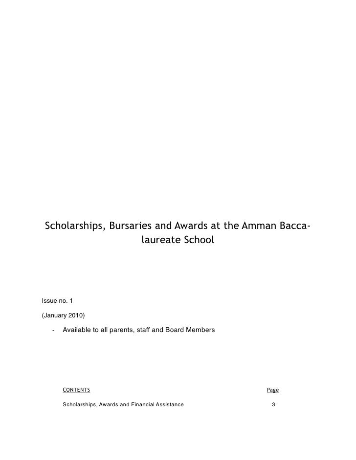 Scholarships, Bursaries and Awards at the Amman Bacca-                       laureate School     Issue no. 1  (January 201...