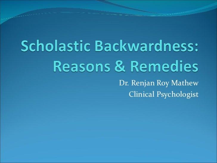 Dr. Renjan Roy Mathew Clinical Psychologist