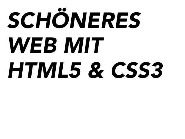SCHÖNERES WEB MIT HTML5 & CSS3
