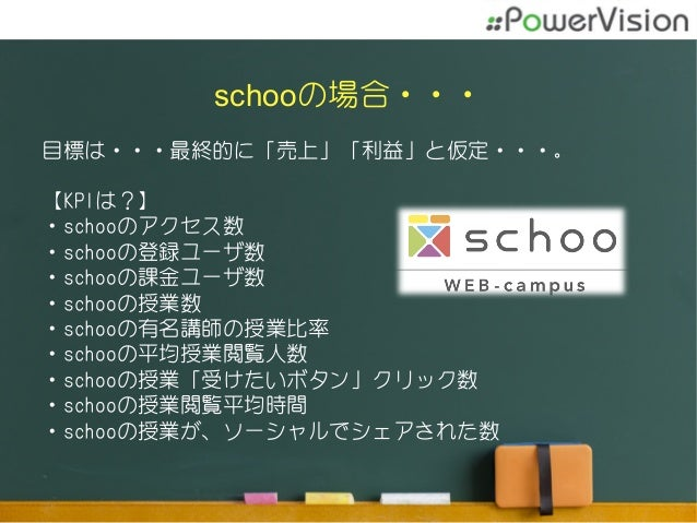 schooの場合・・・ 目標は・・・最終的に「売上」「利益」と仮定・・・。 【KPIは?】 ・schooのアクセス数 ・schooの登録ユーザ数 ・schooの課金ユーザ数 ・schooの授業数 ・schooの有名講師の授業比率 ・schooの...