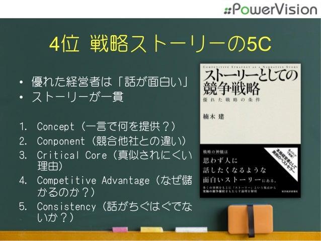 4位 戦略ストーリーの5C • 優れた経営者は「話が面白い」 • ストーリーが一貫 1. Concept(一言で何を提供?) 2. Conponent(競合他社との違い) 3. Critical Core(真似されにくい 理由) ...