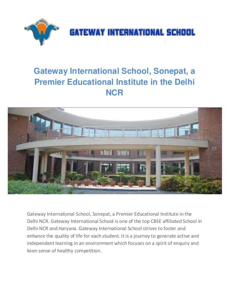 Gateway International School, Sonepat, a   Premier Educational Institute in the Delhi                     NCRGateway Inter...
