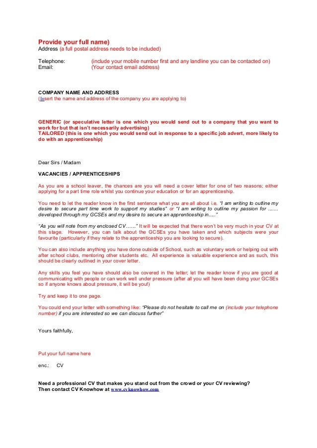speculative cover letter school leaver