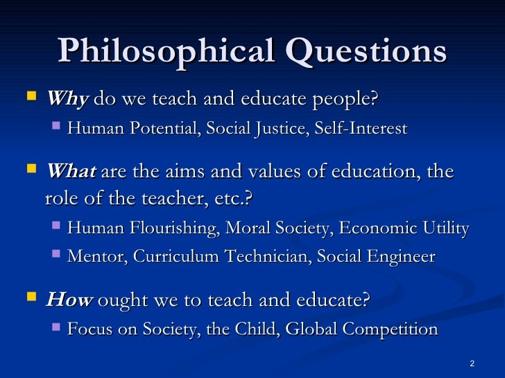 philosophical questions about education