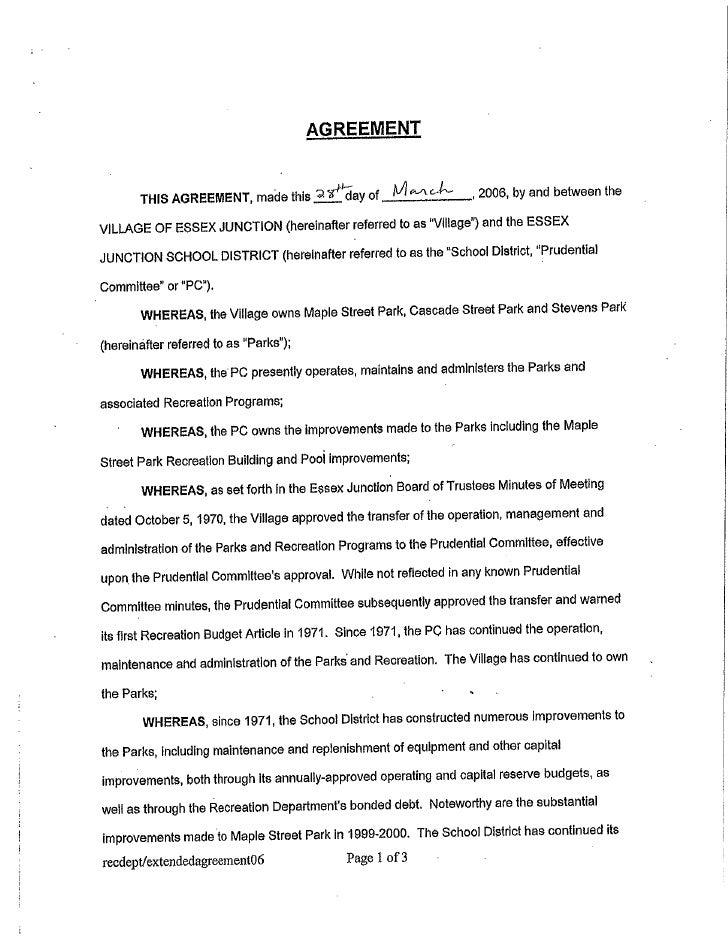 Village-School Agreement - 2006-2010