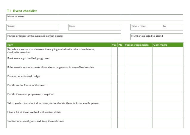 Event Checklist For School Gardens