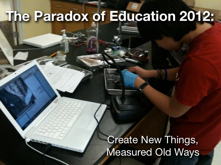 The Paradox of Education 2012:              Create New Things,              Measured Old Ways