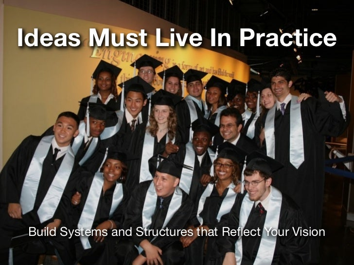 Ideas Must Live In PracticeBuild Systems and Structures that Reflect Your Vision